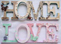 Home letras vintage 25 ideas Decoupage Letters, Diy Letters, Wood Letters, Letters And Numbers, Home Crafts, Diy And Crafts, Paper Crafts, Wood Letter Crafts, Decoupage Vintage