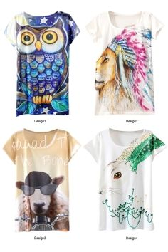 Unique Animal Short Sleeve Tunic T-Shirt