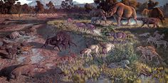 Early Oligocene (33.0-28.4 Mya) Species Key, Mural in Smithsonian Museum of Natural History by Jay Matternes