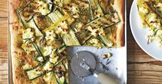 Zucchini and olives make a gourmet topping for this vegetarian pizza.