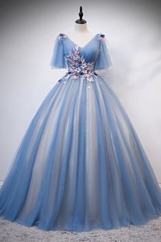 Blue Tulle Short Sleeve V Neck Lace Applique Long Prom Dress, Formal Dress V Neck Prom Dresses, Long Prom Gowns, Ball Gown Dresses, Homecoming Dresses, Bridal Dresses, Evening Dresses, Formal Dresses, Puffy Prom Dresses, Wedding Dress