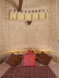 Raised mud reliefs inlaid with mirror on the walls of bedroom in modern home in . - Raised mud reliefs inlaid with mirror on the walls of bedroom in modern home in traditional tribal - Floor Design, House Design, Mud Hut, Ethnic Decor, Indian Interiors, Indian Architecture, Mirror Art, Mirrors, Indian Home Decor