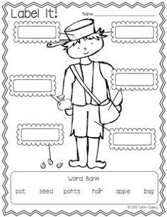 johnny appleseed worksheets for kindergarten - Google Search