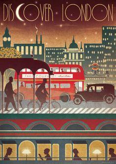 LONDON Transport Travel Underground Bus Train Night Art Deco Bauhaus Poster Print Vintage Retro Vanity Fair Vogue Cityscape More Poster A3, Kunst Poster, Retro Poster, Poster Vintage, Poster Prints, Retro Print, Art Print, Art Nouveau Pintura, Arte Art Deco