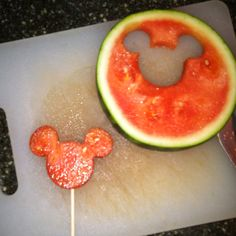 Use cookie cutters to cut shapes into watermelon & make watermelon pops! Great for summer birthday party!