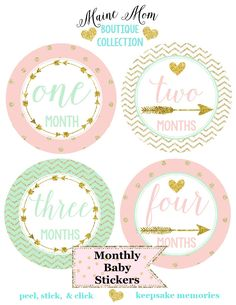 Baby Girl Monthly Stickers, Mint, Blush Pink,  Gold Dots Chevron Milestone Bodysuit Month Photo Prop, Tribal Arrows Nursery Decor by MaineMomBoutique on Etsy https://www.etsy.com/listing/234229799/baby-girl-monthly-stickers-mint-blush