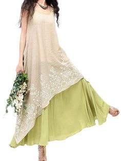 Women Elegant Lace Embroidery Linen High Low Maxi Dress