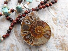Ammonite necklace Fossil necklace Earthy by Gypsymoondesigns