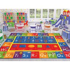 Ottomanson Jenny Collection Dark Red Frame with Multi Colors Kids Children's Educational Alphabet (Non-Slip) Area Rug, X Red *** Check this awesome product by going to the link at the image. (This is an affiliate link) Preschool Classroom, Classroom Decor, Classroom Rugs Cheap, Preschool Supplies, Classroom Hacks, Classroom Organization, Kids Area Rugs, Modern Color Palette, Alphabet Design