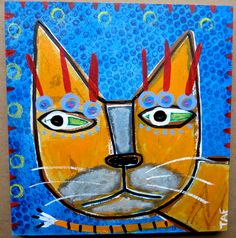"""""""Portrait of a Street Cat #6"""" an original acrylic painting by Tracey Ann Finley"""