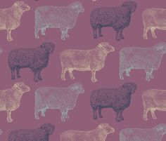 Vintage Sheep Purple Print fabric by cloudycapevintage on Spoonflower - custom fabric