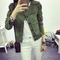 Chaquetas Mujer 2016 No Início do Outono Nova Retro Verde Militar Jaqueta Moda Camurça Casuais Casacos Outerwear Mulheres…