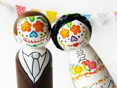 Day of the Dead cake toppers by LaSantaMuerte, $70.00.
