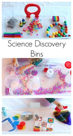 Science Discovery Bins from Fun at Home with Kids Center time? Easy to store and transport. Science Activities For Kids, Kindergarten Science, Science Experiments Kids, Science Classroom, Science Lessons, Sensory Activities, Teaching Science, Science Projects, Toddler Activities