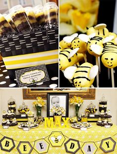 "What a ""bee""-utiful dessert table!  Just sticking with two dramatic colors can create quite an elegant yet still child-friendly display, as seen in this first birthday party"