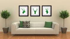 Deer Head  Emerald Green  Set of 3   Archival by FluidDiamondArt