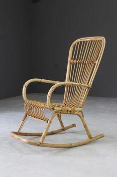 Retro Bamboo Cane Rocking Chair