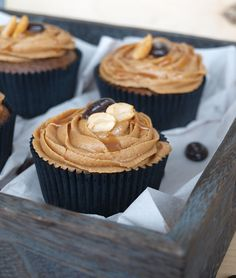 Peanut and Coffee Vegan Cupcakes. These have peanuts, but are non-dairy and egg