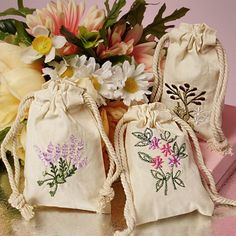 "Botanical Embroidered Cotton Muslin Pouch 3"" x 5"" Empty Unbleached Pack of 6 