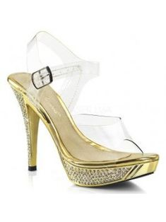 Beautiful Fabulicious Women's Clear Gold Chrome High Heels Ankle Strap Sandals Fashion Women Shoes from top store Ankle Straps, Strap Heels, Ankle Strap Sandals, Stiletto Pumps, High Heel Pumps, Pumps Heels, Gold High Heels, Womens High Heels, Embellished Heels