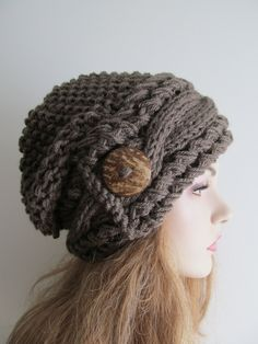 Slouchy+Beanie+Cable+Slouch+Hats+Wood+Button+Braided+by+Lacywork,+$59.99