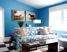 Blue + white + brown: Pattern mix + Farrow & Ball's 'Cook's Blue' | Flickr - Photo Sharing!