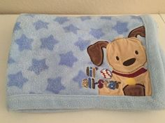 Just Born Lil All Star Blue Star Dog Puppy Baby Blanket Baseball Plush Security #JustBorn