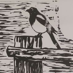 Linocut Magpie print Lino Art, Linocut Prints, Magpie, Carving, Birds, Pets, Animals, Animales, Animaux