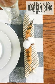 Do you love cotton stem decor? Why not try these cotton stem napkin rings. An easy DIY craft tutorial idea perfect for your Thanksgiving table this fall! #thecraftyblogstalker #twelveonmain #cottonstem #napkinrings #diy #thanksgiving