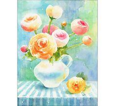 Ranunculus Original Watercolor Painting 9x12 by CMwatercolors, $86.00