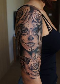 Ideas Tattoo Frauen Oberarm La Catrina - You are in the right place about Ideas Tattoo Frauen Oberarm La Catrina Tattoo Design And Styl - Sugar Skull Tattoos, Arm Tattoos, Body Art Tattoos, Tatoos, Tattoo Arm, Tattoos Pics, Portrait Tattoos, Sugar Tattoo, Half Sleeve Tattoos Sugar Skull