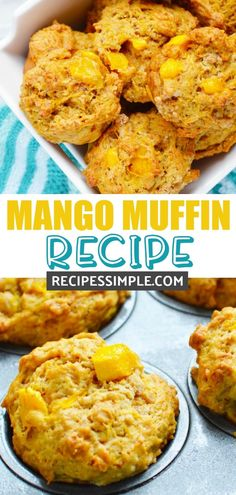 These Mango Muffins are so moist and delicious and are perfect for breakfast, brunch or snacks. These muffins are bursting with mango flavor and are simple to make. Mango Muffins, Mango Desserts, Juicer Recipes, Salad Recipes, Detox Recipes, Muffin Recipes, Baking Recipes, Cupcake Recipes, Juice Recipes For Kids