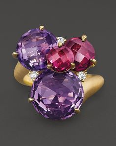 Carelle Amethyst, Rhodolite And Diamond Cluster Ring