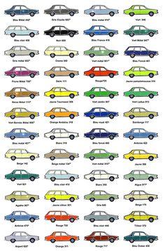 NUANCIER R12 Vert Metal, Car Prints, Fiat 850, Vintage Classics, Car Illustration, Art Cars, Jdm, Cars And Motorcycles, Evolution