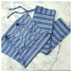 """Splendid Twin Stripe Tank and Capris Soft knit PJ/lounge set in blue stripe . Tank has tagless design, racerback and curved hem. Capris have elastic waist with tie front and cozy fleece lining. Tank is 23"""" long from shoulder, 14 """" wide at bust. Capris are 13.75""""wide at waist and have a 20"""" inseam. Tank is rayon/cotton, capris are modal/spandex. Machine wash/dry. Splendid Intimates & Sleepwear"""
