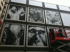 Victor Ash painting the front of Platoon Kunsthalle, Gangnam.