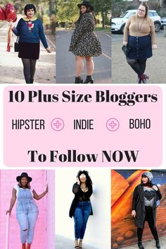 Plus size indie hipster bloggers to follow in 2017 -- Curves in lace, vintage sweaters, turtlenecks, fedors, and floral dresses! These plus size blogger babes know how to do hipster in style.