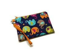 Adorable elephants fabric zipper phone wallet by ItsSewYouDear