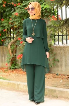 - Tunic and Pants Set - Colors: Green, Plum, Black, Beige - Sizes: Small, Large, XLarge, XXLarge, 3XLarge and 4XLarge - Long and buttoned sleeves - Material: Chiffon - Comes with an accessory necklace