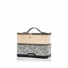 Beige leopard print vanity case $50.00