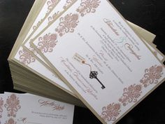 This Key to My Heart Custom Wedding Invitation features a layered background, and a damask pattern. The Key and tag is taken from a photograph.