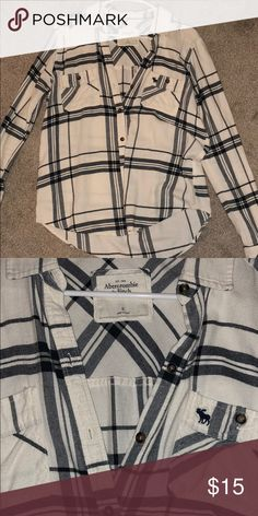 Abercrombie & Fitch Flannel Navy blue and white, super soft, great condition Abercrombie & Fitch Tops Button Down Shirts