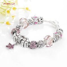 Antique Silver Original Women Glass Charm Bracelet & Bangle Fit European Charm Bracelet Luxury Bijoux PCBR0056