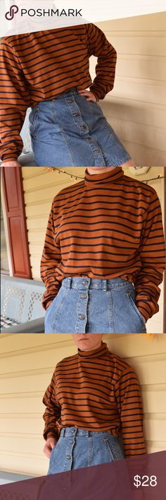 Burnt orange and black striped top Cutest men's turtleneck ever! Super 70s color scheme Burnt orange and black stripes Size large looks great oversized, Has fitted sleeve cuffs which I love on long sleeve shirts  L.l.bean  #70s #burntoragne #hippie #coldweather #oversized Tops Tees - Long Sleeve