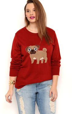 Deb Shops Plus Size Long Sleeve Crew Neck Sweater with Pug Screen