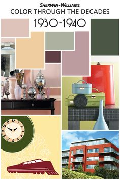 As part of our 150th anniversary celebration, we're featuring the color palettes from the most memorable decades, starting with the 1930s and '40s. The Bauhaus-inspired modern movement featured impactful, streamlined design. Interior colors tended to be soft and dusty with yellows, bluish grays and pinks with deep green and burgundy accents. Want this look for your home? Try Vogue Green SW 0065, Cascade Green SW 0066, Belvedere Cream SW 0067, Copen Blue SW 0068 and Orchid SW 0071.