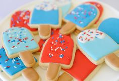 Popsicle Sugar Cookies - Red, White and Blue!