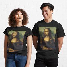 Dalisa funny mona lisa dali by handcraftline | Redbubble Fashion Essentials, My T Shirt, Cute Shirts, Cotton Tee, Mona Lisa, Female Models, Classic T Shirts, Shirt Designs, T Shirts For Women
