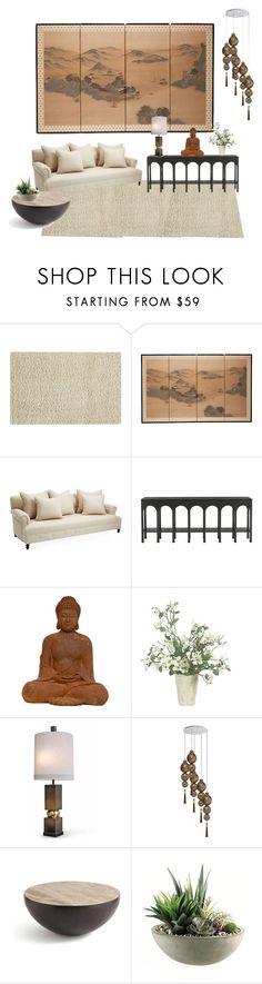 """""""ZEN - living room"""" by shistyle ❤ liked on Polyvore featuring interior, interiors, interior design, home, home decor, interior decorating, Maples, Heathfield & Co., GO Home Ltd. and Home Decorators Collection"""