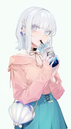Wallpaper Anime Girl, Drinking, White Hair, Make-up - WallpaperMaiden Pretty Anime Girl, Beautiful Anime Girl, Kawaii Anime Girl, Anime Art Girl, Anime Girls, Anime Girl Short Hair, Manga Girl, Pretty Art, Cute Art